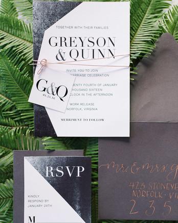 charcoal white winter theme wedding invitation