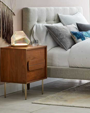 iridescent bedside table decor