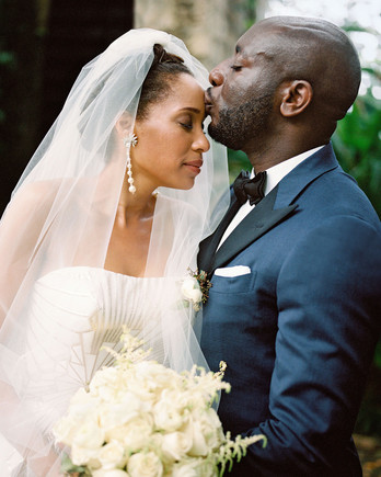 porsha terry wedding jamaica forehead kiss bride groom