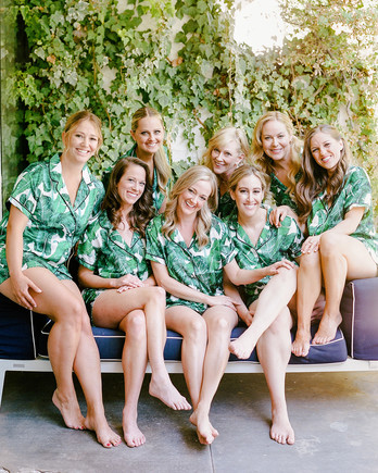 stefanie kevin wedding bridesmaids in pajamas