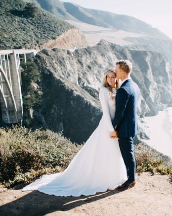 danielle adam wedding couple over water