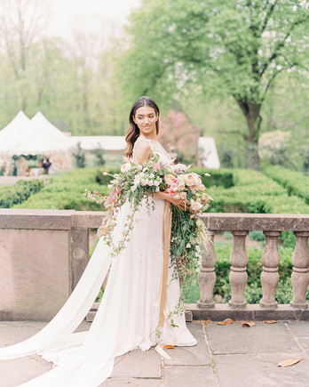 long stemmed various white and pink florals wedding bouquet