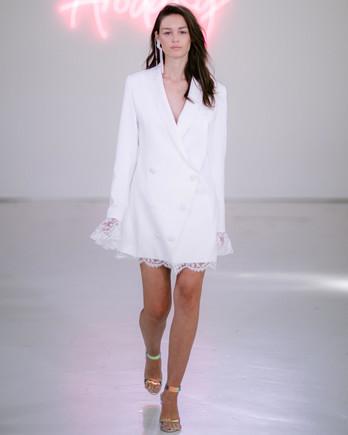 Rime Arodaky X The Mews Bridal double button up lace detail long sleeve mini wedding dress fall 2020