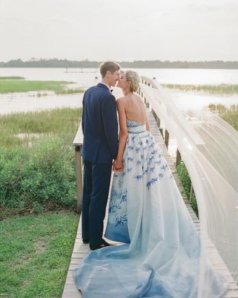 christina matt wedding charleston sc kiss couple blue