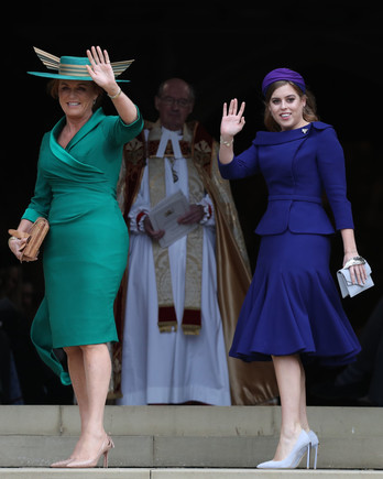 Sarah Ferguson and Princess Beatrice at Princess Eugenie 2018 royal wedding