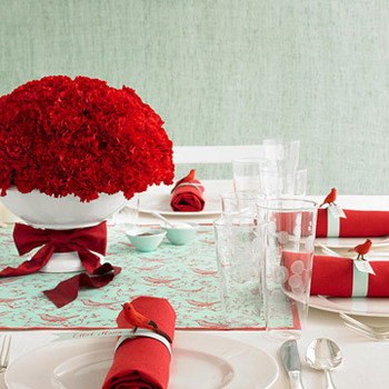 Aqua and Red: Two-Tone Tabletop