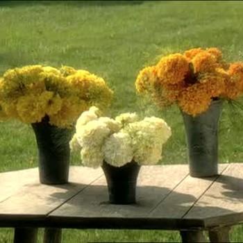 Outdoor Flower Arranging Using Marigolds.