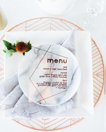wedding menu stone