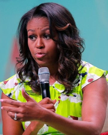 michelle obama with microphone