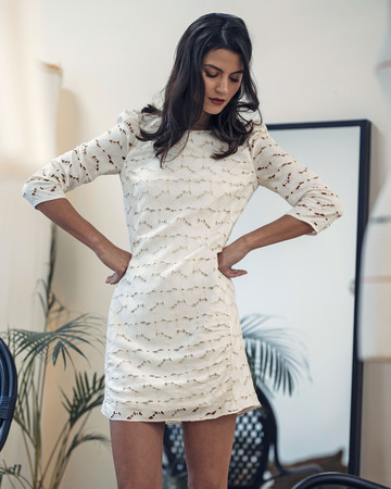 laure de sagazan short patterned wedding dress spring 2019