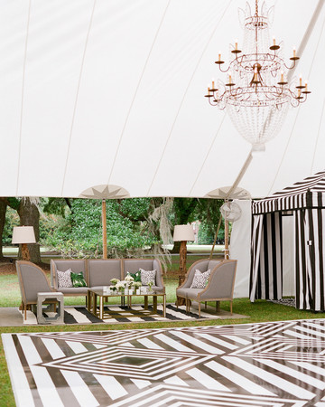 striped flooring and ten wedding reception area