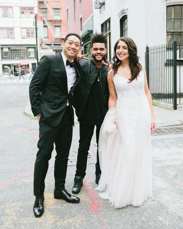 The Weeknd with bride and groom