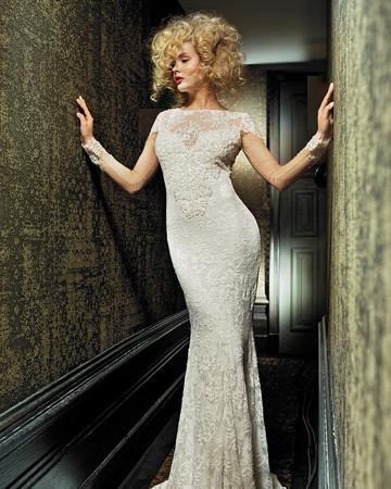 olvi wedding dress spring 2019 high-neck illusion sleeves