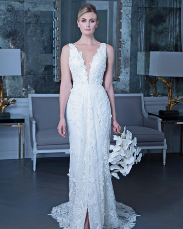 Romona floral applique wedding dress fall 2019