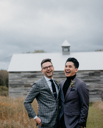 eric eryc wedding grooms outside