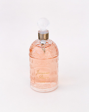 peach glass perfume bottle