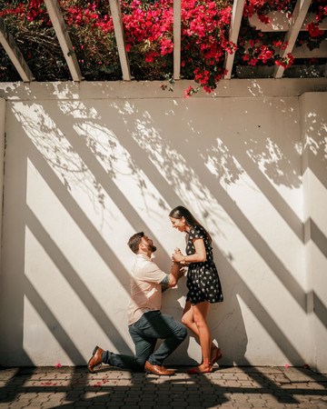 perfect proposals under red floral canopy