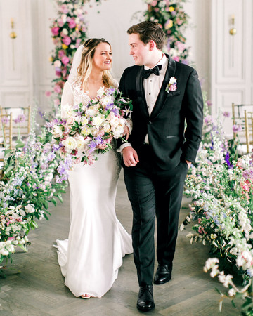 stephanie joe wedding couple bride and groom bouquet