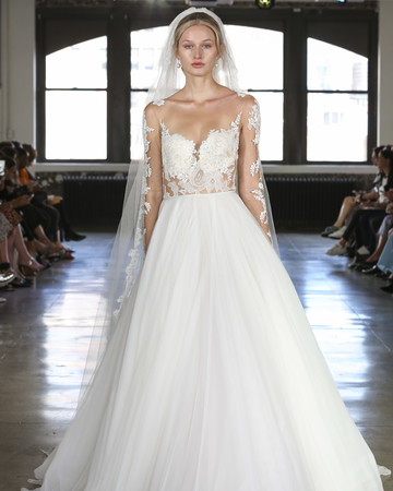 watters illusion high neckline wedding dress fall 2019