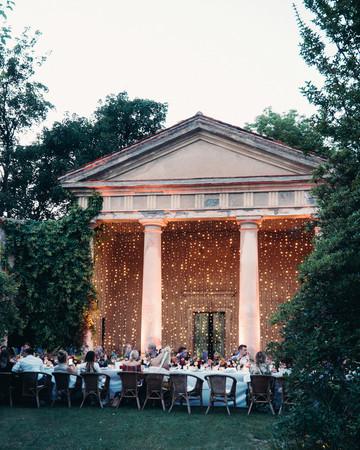 twinkle lights on exterior of venue