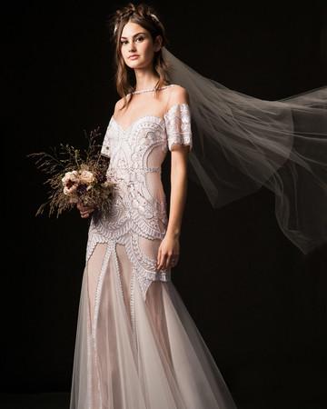 temperley fall 2019 illusion high neck vertical ruffles wedding dress