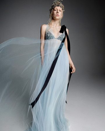 vera wang wedding dress black bust ribbon blue sheer overlay