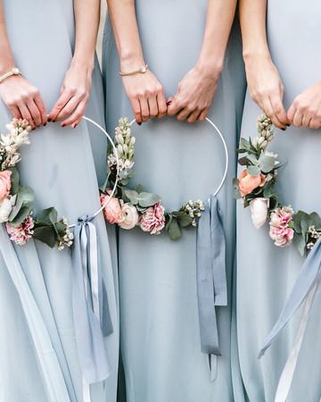 hoop bouquets sabrina licata bridesmaids