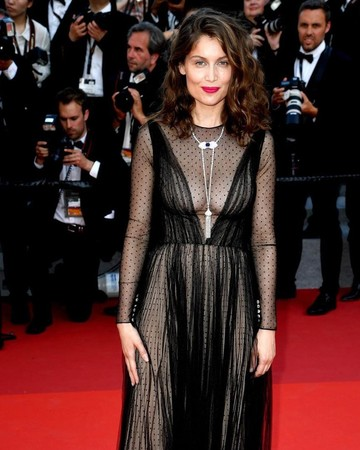 Laetitia Casta in black gown at Cannes Film Festival