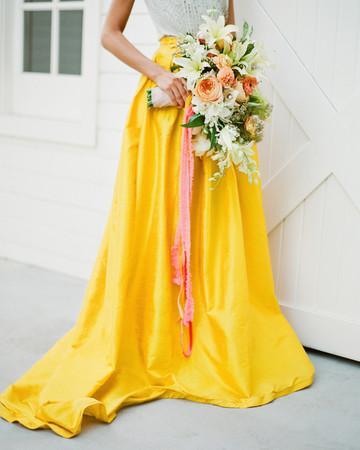 yellow skirt bridesmaid dress jose villa