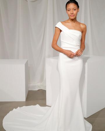 amsale one strap trumpet wedding dress fall 2020