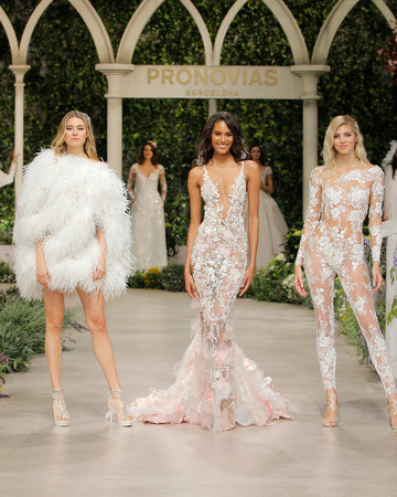 pronovias wedding dress spring 2019 feathers lace