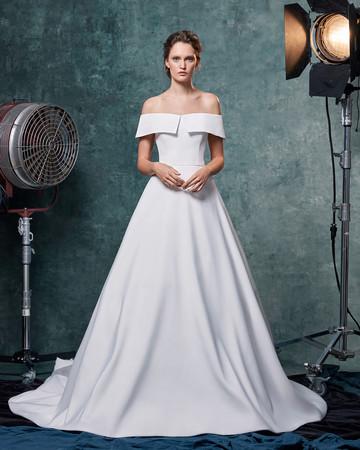 sareh nouri dress fall 2019 off-the-shoulder collared a-line