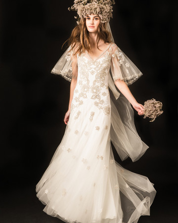 temperley floral embroidered flutter sleeves sheath wedding dress spring 2020