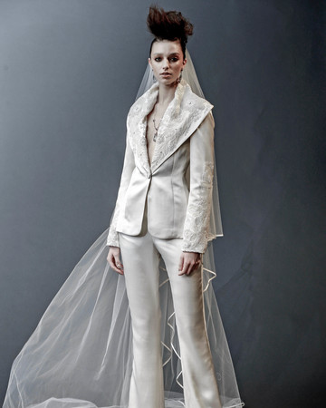 naeem khan suit with open collar and veil wedding dress spring 2019