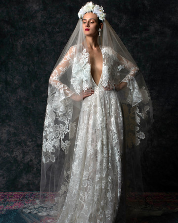 Lace long sleeves flutter cuffs deep v-neck train a-line Wedding Dress Naeem Khan Spring 2020