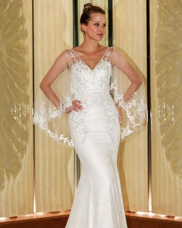 randy fenoli wedding dress v-neck trumpet illusion cape beaded