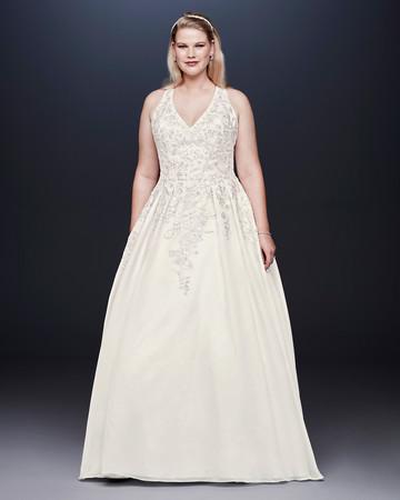 davids bridal wedding dress fall 2019 pleated v-neck a-line