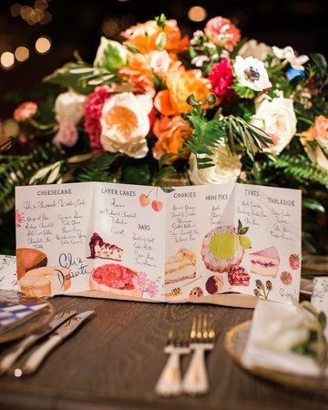 kori paul wedding table menu