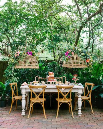 rifle paper co. floral bridal shower tablescape