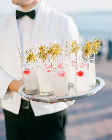 Gold Pom-Pom Drink Stirrers