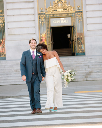 Bride in a Strapless Wedding Jumpsuit