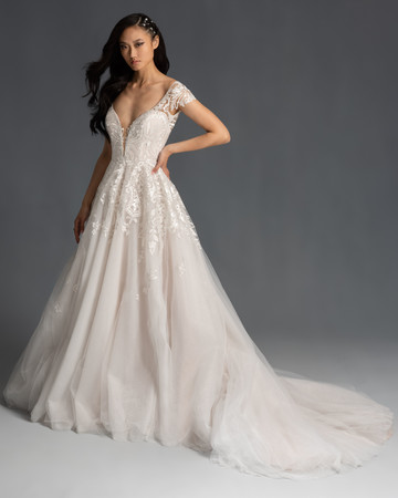 lace cap sleeves plunging v-neck tulle skirt a-line wedding dress Hayley Paige Spring 2020