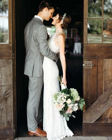 wedding couple doorway