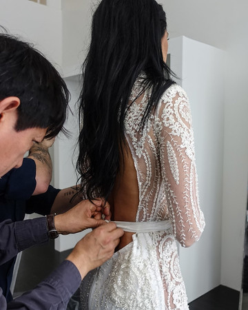 Nicole Williams wedding dress fitting with Michael Costello