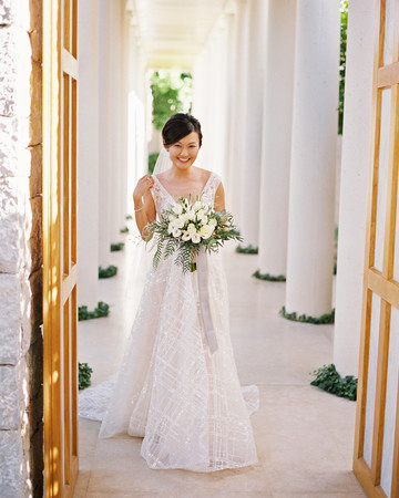 sze amanzoe wedding bride greece elegant