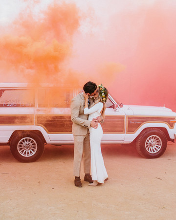 wedding exits smoke bombs