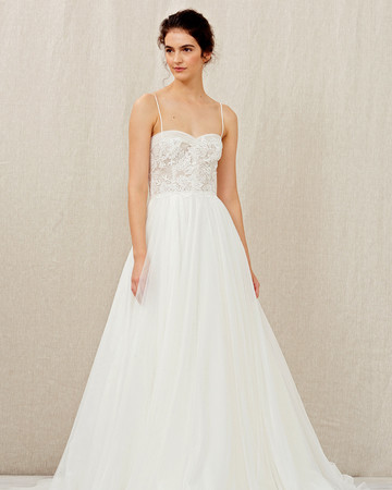 christos fall 2018 spaghetti-strap sweetheart ball gown