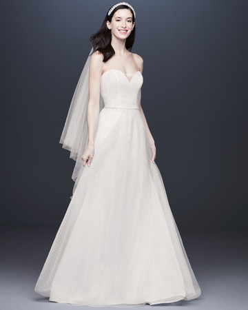 strapless sweetheart belted a-line wedding dress Davids Bridal Spring 2020