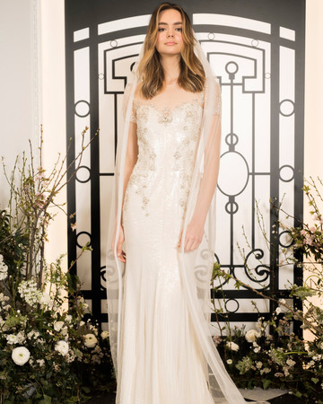 jenny packham illusion sheath wedding dress and veil spring 2020