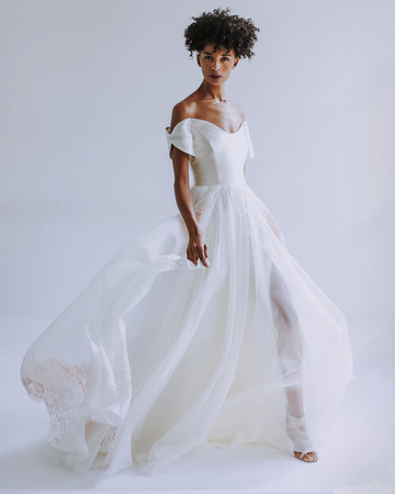 Leanne Marshall off the shoulder wedding dress fall 2019